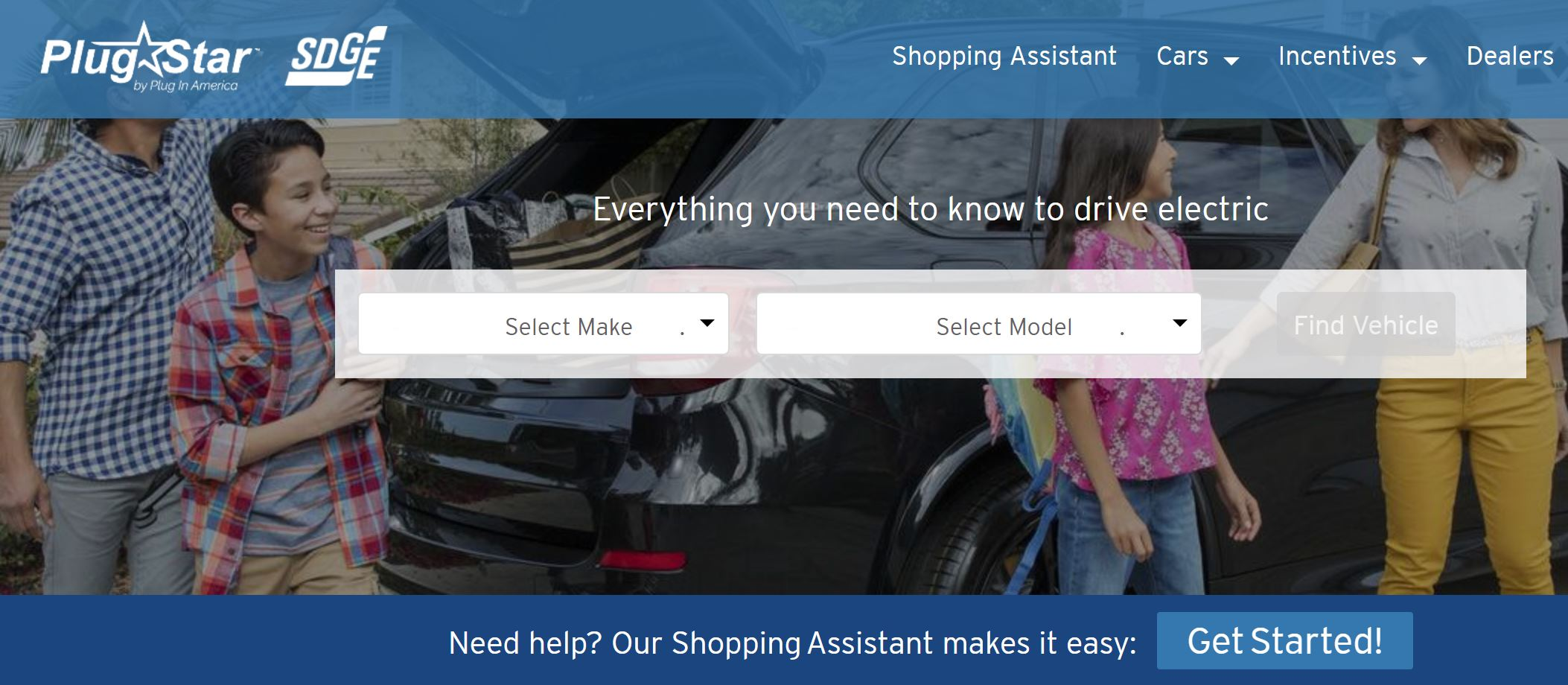 A Screenshot of the plugstar.com/sdge EV shopping web portal
