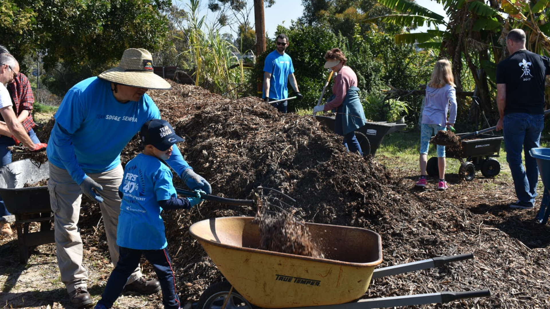Team SDG&E volunteers work on beautification at Olivewood Gardens.