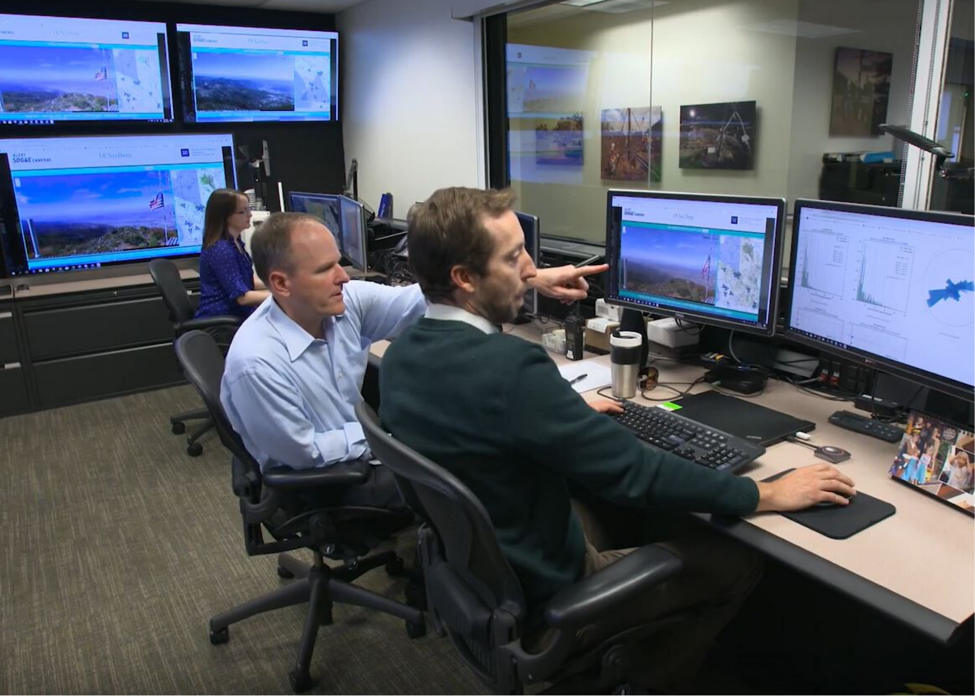 Carrie's Fire Science and Climate Adaptation coworkers working in the SDG&E Weather Center