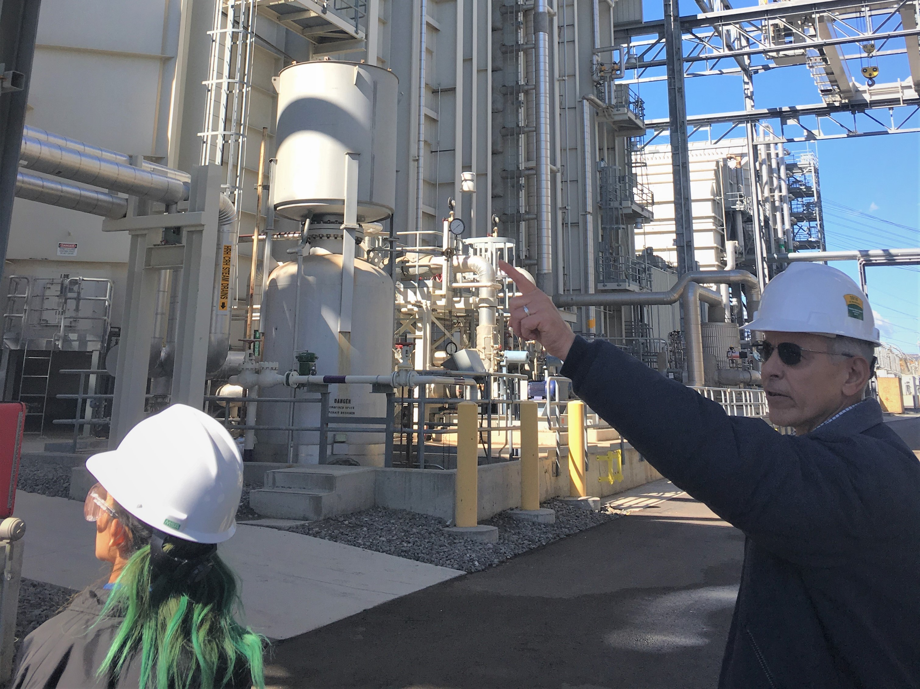 Carl La Peter, plant manager at Palomar Energy Center, educates students on how the power plant converts and transfers energy, from clean natural gas, to produce electricity for 420,000 homes.