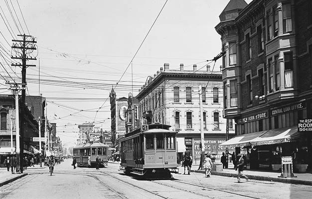 Two Street Cars at 5th and Market Downtown