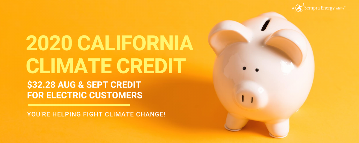 California Climate Credit to Offset August and September Bills for SDG&E Electric Customers by $32.28 Each in Credit