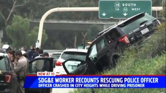 SDG&E Worker Recounts Rescuing Police Officer from Crash
