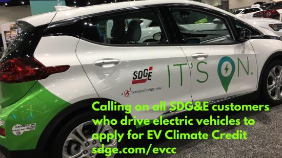 "Electric Vehicle with SDG&E logo and tag line ""It's On"""