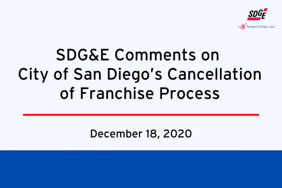 SDG&E Comments on City of San Diego's Cancellation of Franchise Process