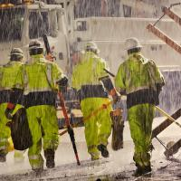 Crews working in storm conditions