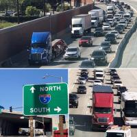 Collage of photos of trucks and traffic on I-5