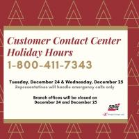 Customer Contact Center Holiday Hours
